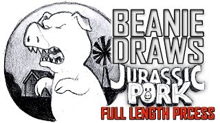 Beanie Draws - Jurassic Pork - Using Mechaical Pencil - Full Length Drawing Process