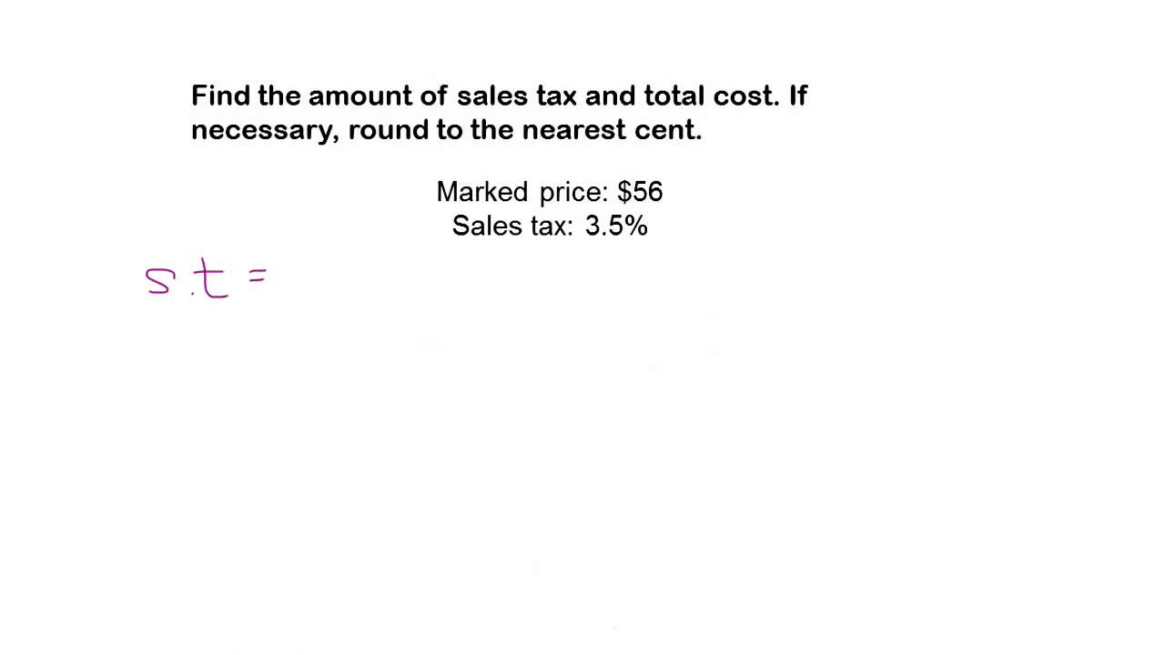 medium resolution of Math Help   How to Calculate Sales Tax and Total Cost - YouTube