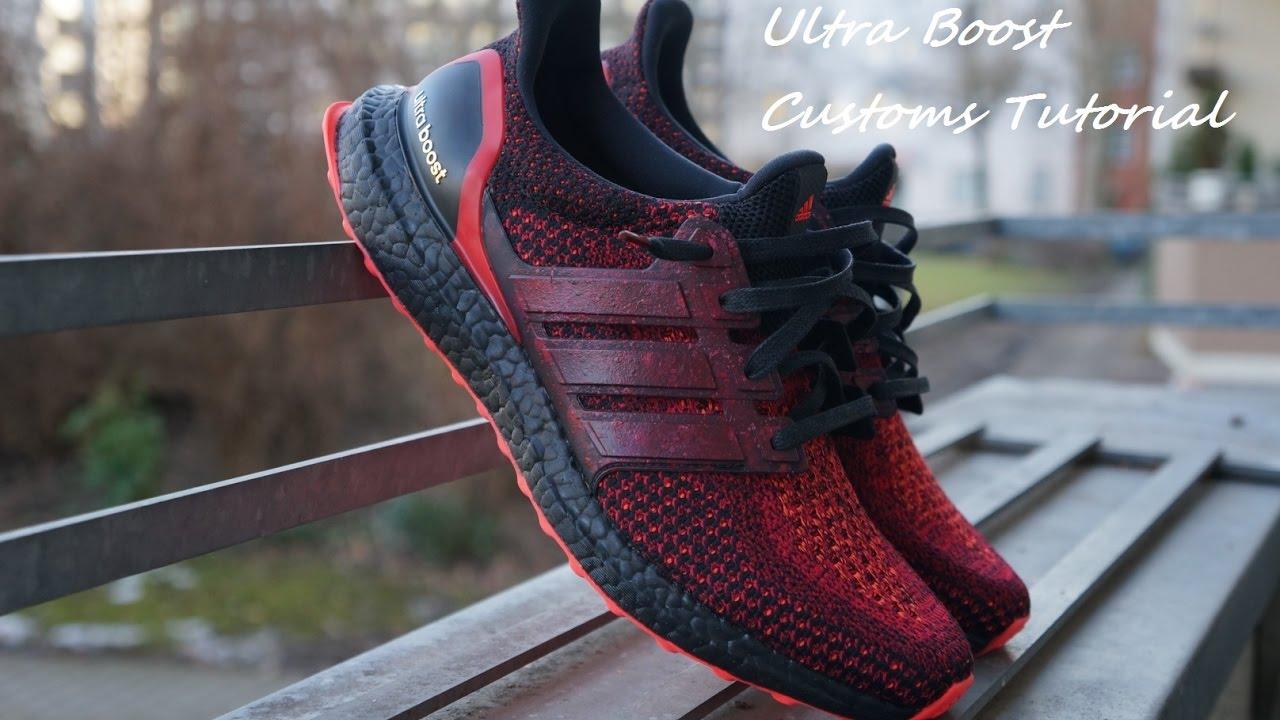 3814f014a Adidas Ultra Boost Solar Red Custom Tutorial - Was ihr alles braucht ...