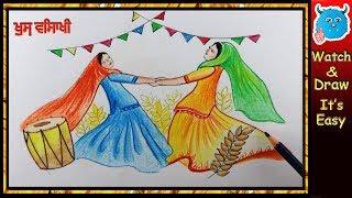 Baisakhi Drawing Easy Festival Greeting Card Idea