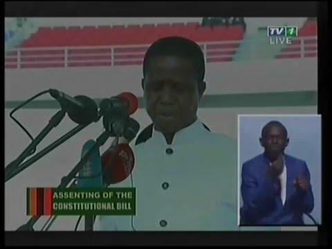 Zambian President Edgar Lungu assents to the Constitution amendment bill-Full Video