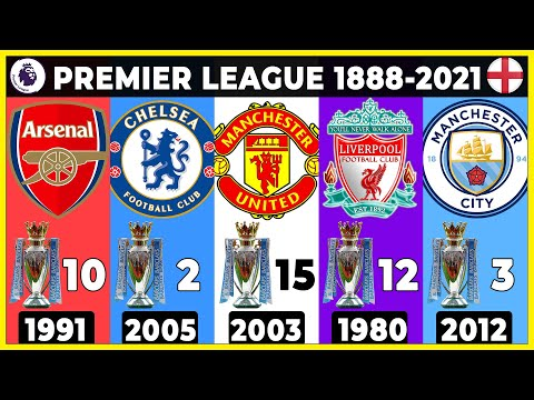 Premier League 1888 - 2021 Winners 🏴 All English League Champions.