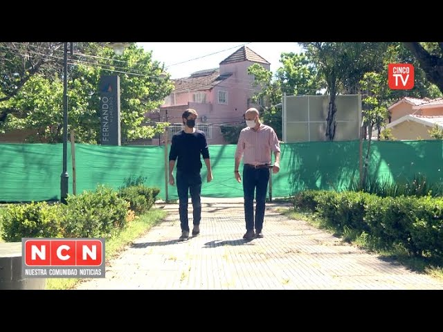 CINCO TV  - Juan Andreotti recorrió la obra de modernización de la Plaza Dorrego de Victoria