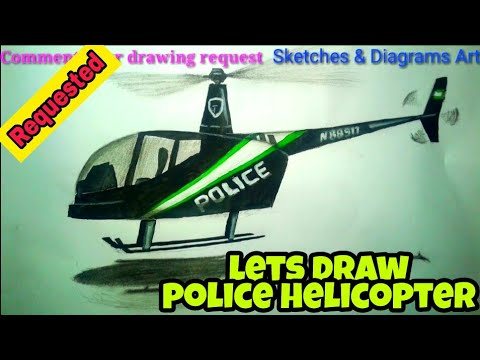 Lets Draw A Police Helicopter || Sketches & Diagrams Art ||