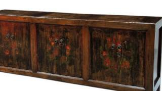 Vintage Asian Hand-carved, Painted, Wooden Sideboards