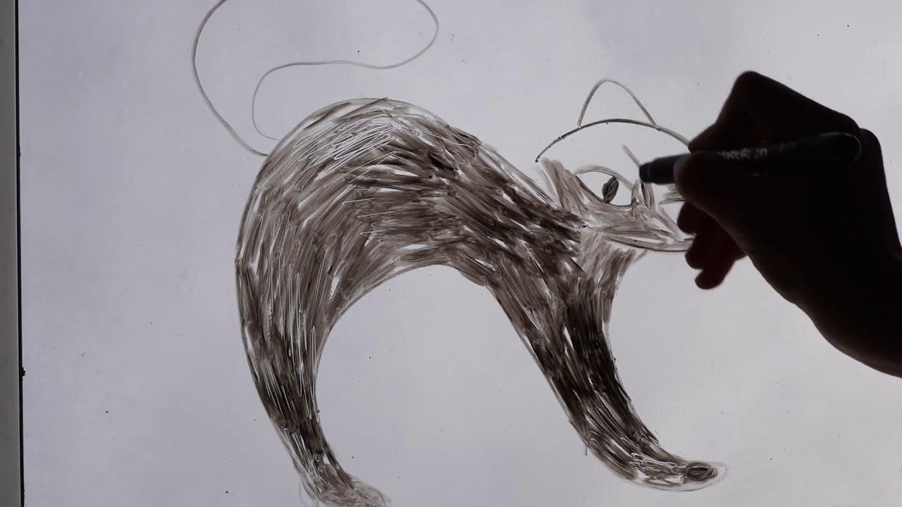 katze malen - mit glasstiften fenster bemalen - youtube