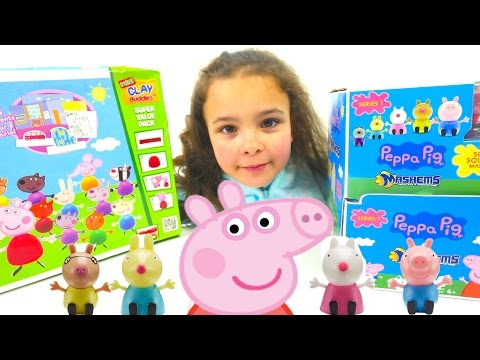 Peppa Pig Clay Play Doh Figures and New Toy Surprise Mashems Eggs !