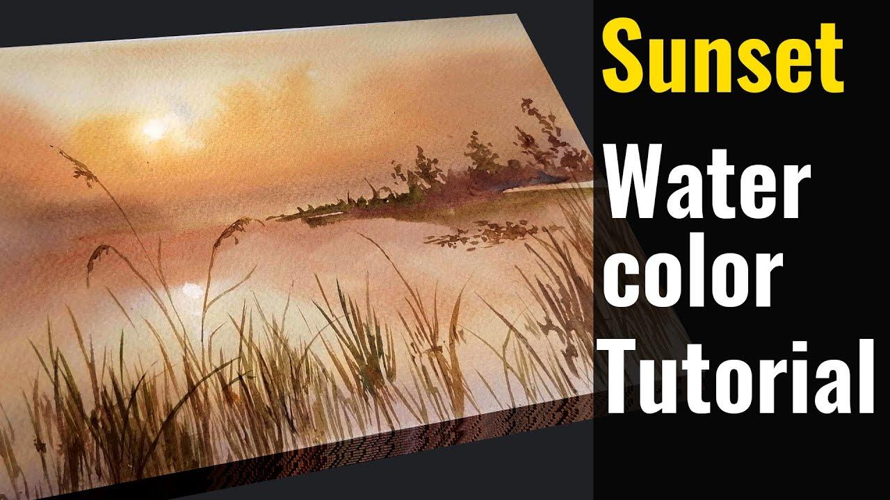 How to paint sunset in watercolor in urdu hindi   MKazmi Studios  