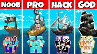 Minecraft: FAMILY PIRAT SHIP BUILD CHALLENGE - NOOB vs PRO vs HACKER vs GOD in Minecraf
