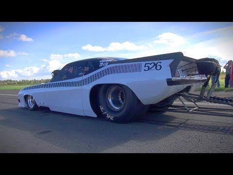BRUTAL HEMI V8 SOUND!! Plymouth Cuda Dragster - Burnout, Acceleration