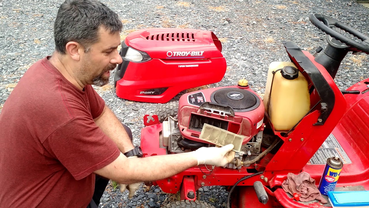 Troy Bilt Pony Tune Up Time Spark Plug Air Filter Fuel Filter And Lube Youtube