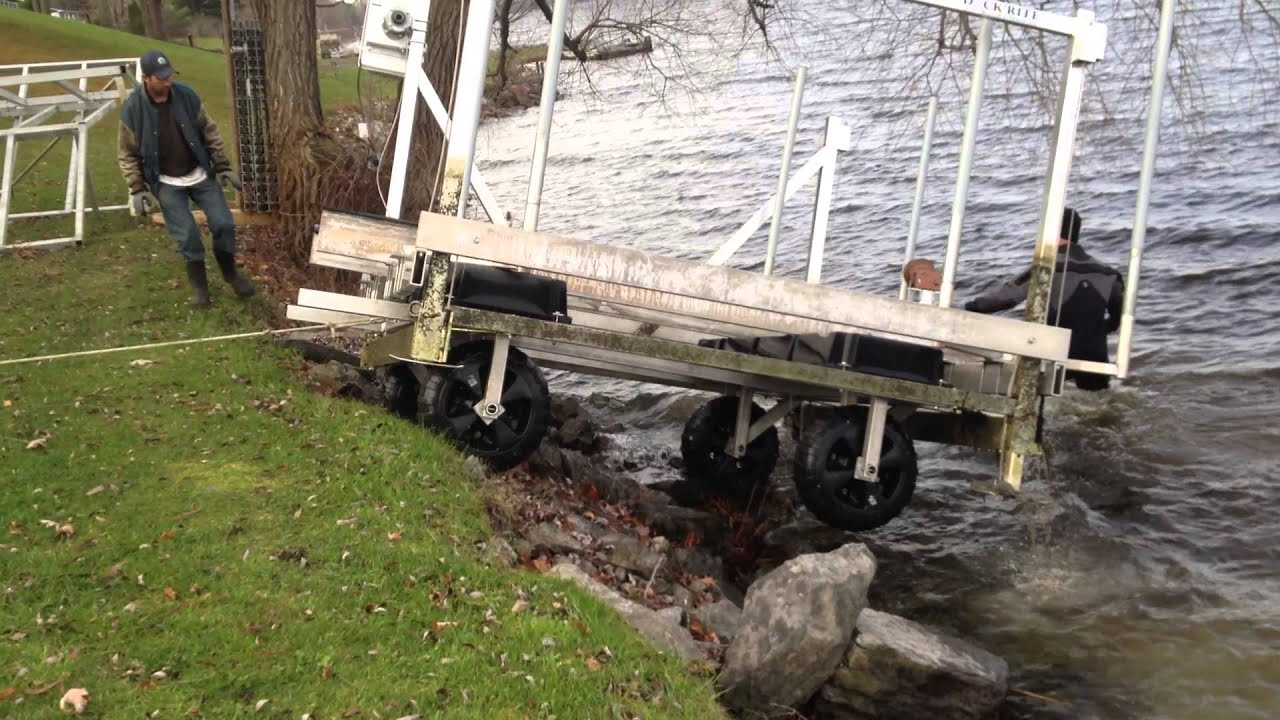 Aluminum boat lift removal youtube for Hillside elevator kit