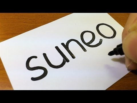 Very Easy ! How To Turn Words SUNEO(Doraemon)into A Cartoon - Doodle Art On Paper