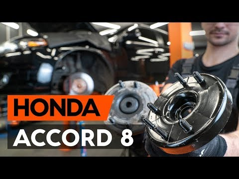 How to replace front strut mount / top munt HONDA ACCORD 8 (CU2) [TUTORIAL AUTODOC]