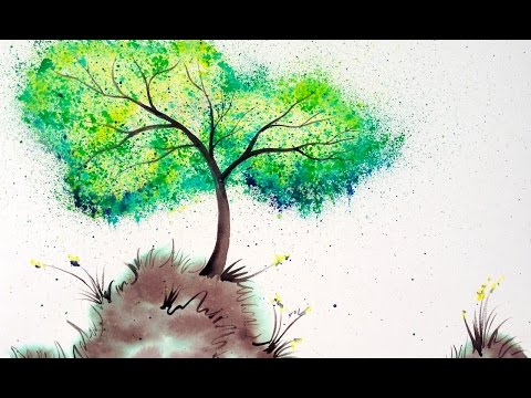 Bella's Wishing Tree painting tutorial Easy Splatter art Crayola watercolors