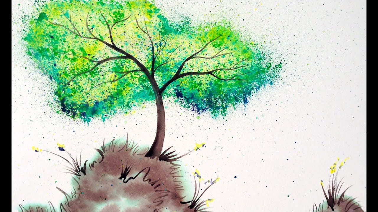 Bellas Wishing Tree Painting Tutorial Easy Splatter Art Crayola Watercolors