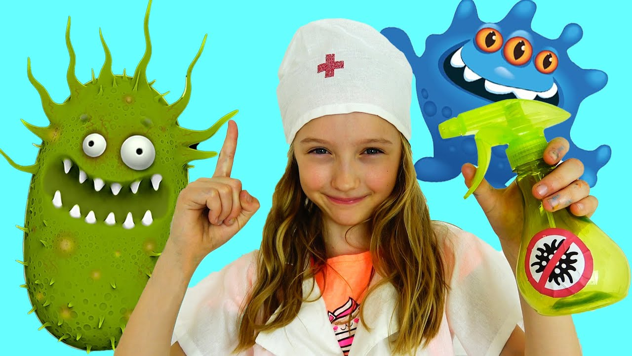 Полина борется с микробами видео про мытье рук