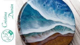 Resin Art – Beach On Wood