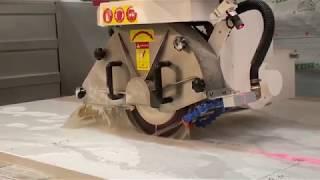 Piu Forte 1000 cuts out quartz sink, Verona Jib Crane transports finished product