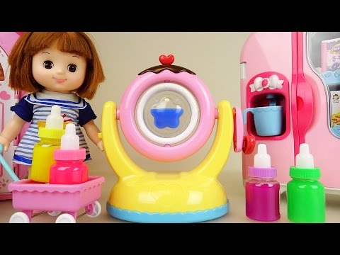 Thumbnail: Baby doll and slime chocolate maker and refrigerator toys play