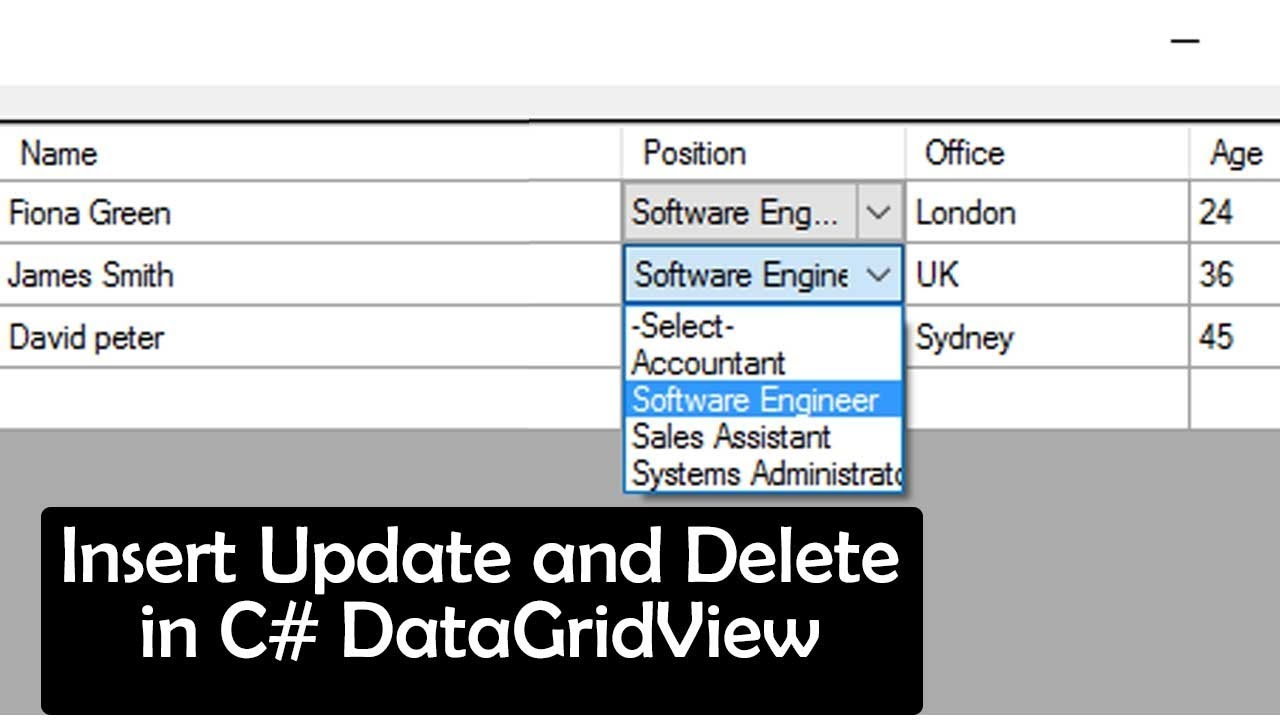 Insert Update and Delete in C# DataGridView