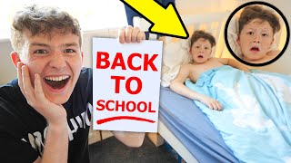 Back To School *PRANK* on my LITTLE BROTHER!!