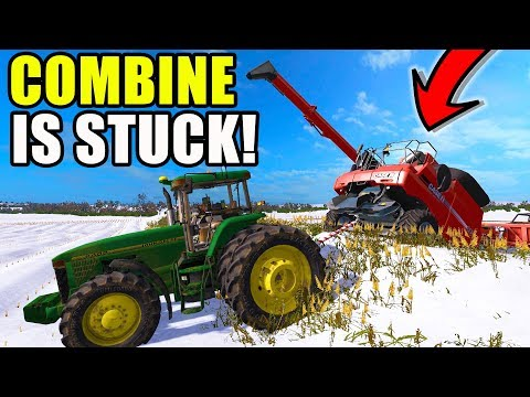 FARMING SIMULATOR 2017 | HE CRASHED THE COMBINE IN THE DITCH + PULLING OUT COMBINE | EP #18