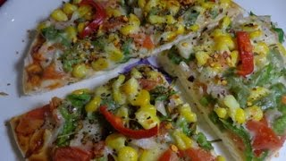 HOW TO MAKE PIZZA AT HOME - CHEEZE & CORN PIZZA - RECIPE IN HINDI