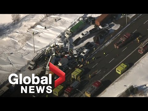 Nearly 200 Cars Involved In Massive Multi-vehicle Pileup Outside Of Montreal