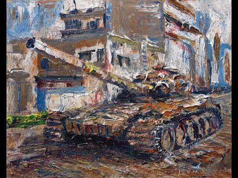 q569 modern oil painting canvas realism art deco gun gallery Syria war tanks conflict crisis.