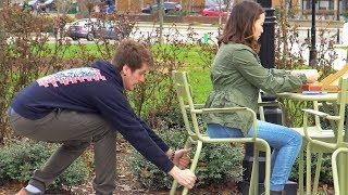 Chair Pulling Prank on Girls