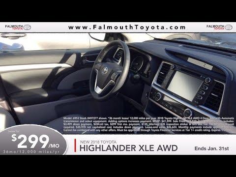 2018 Toyota Highlander Xle Lease 299 Mo Falmouth Cape Cod