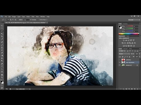 Watercolor Photoshop Action tutorial | Adobe Photoshop CS6 | Multi Tech