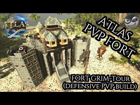 ATLAS: Castle base design - FORT GRIM Tour (defensive PVP build) #PlayAtlas