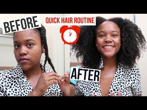 Natural Hair Morning Routine in 1 MINUTE (Braid Out Results on Type 4 Hair)