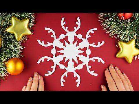 Как вырезать снежинку Олень из бумаги А4 легко и просто. Новогодние поделки