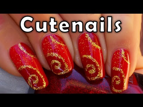 Nail Art For Christmas Red And Gold Design Youtube