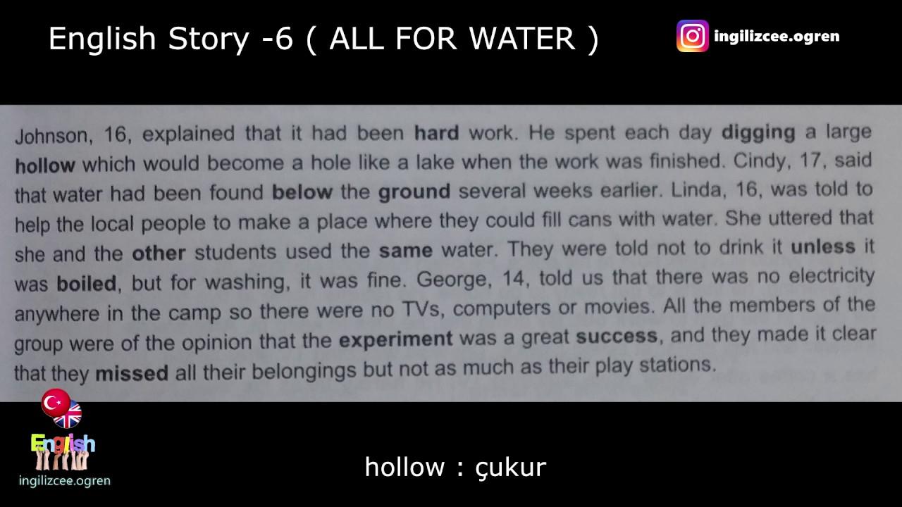 İngilizce hikaye okuyorum - All For Water (6.Hikaye)