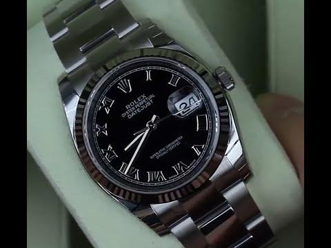 Rolex Datejust 36mm Steel Oyster Bracelet Black Roman Dial 116234 Flute