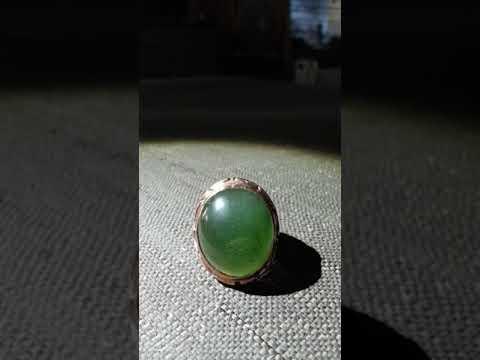 Giok Aceh Serpentine Ijo Botol Ring Silver Custom Chrome