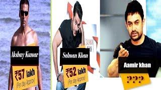 per day earning 7 bollywood stars ,  salman, aamir, sharukh, hrittek