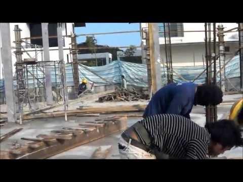 งานรับเหมาก่อสร้างบ้าน ขั้นตอนงานเทพื้น หล่อเสาบ้าน Part2