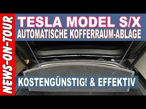 Automatische Kofferraumablage TESLA Model S   Der Schnürsenkel-Trick ;) Sehr günstig und effektiv!