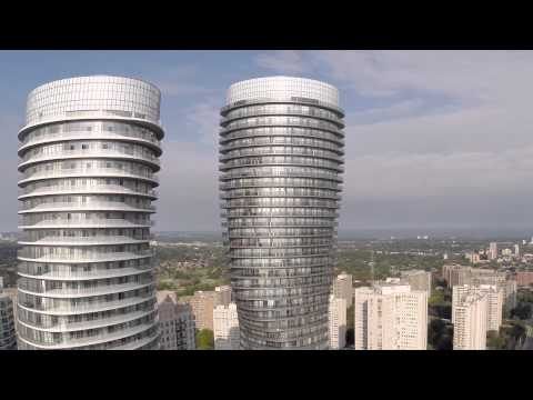 Drone view of Absolute World in Mississauga