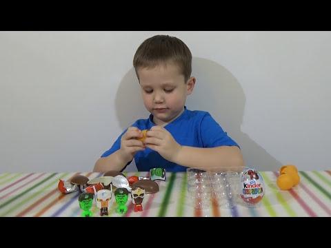 Мстители Марвел Киндер Сюрприз открываем игрушки Avengers Assemble Kinder Surprise eggs toys