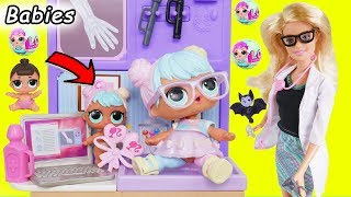 LOL Surprise Dolls + Lil Sisters at Barbie Fake Toy Hospital for Bon Bon