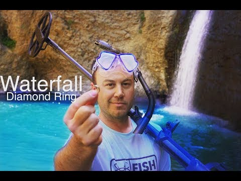 River Hunting Found Diamond Ring Diving Under the Waterfall Metal Detecting