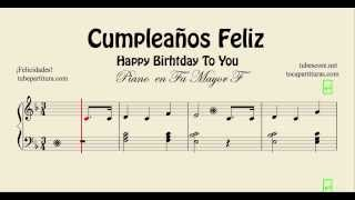 Happy Birthday to You Sheet Music for Easy Piano in F Cumpleaños Feliz