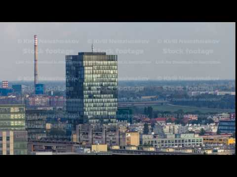 Panorama of the city center timelapse of Zagreb, Croatia, with modern and historic buildings