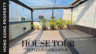 🇭🇰 4K HOUSE TOUR | TOP FLOOR DUPLEX APARTMENT WITH ROOFTOP | Hong Kong